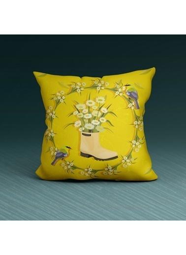 Artikel Sarı Açan Çiçekler Dekoratif Çift Taraflı Yastık Kırlent Kılıfı 45x45 cm Renkli